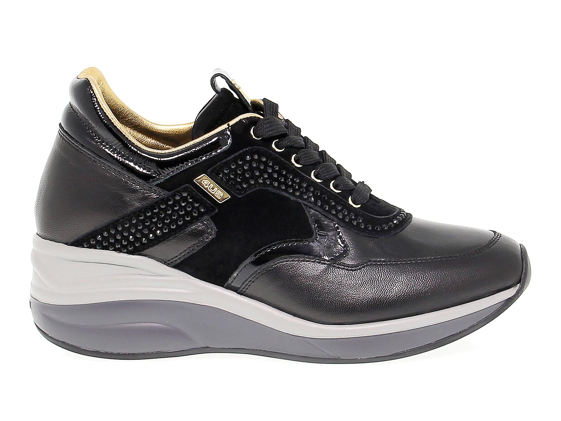 Dettagli su Sneakers CESARE PACIOTTI 4US ED3 in pelle nero Scarpe Donna