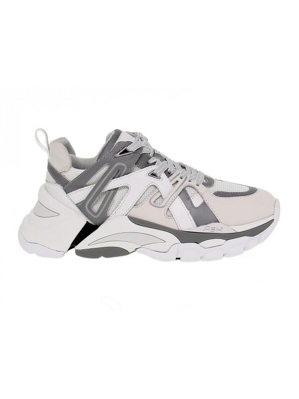Sneakers Ash FLASH in pelle e tessuto bianco e grigio