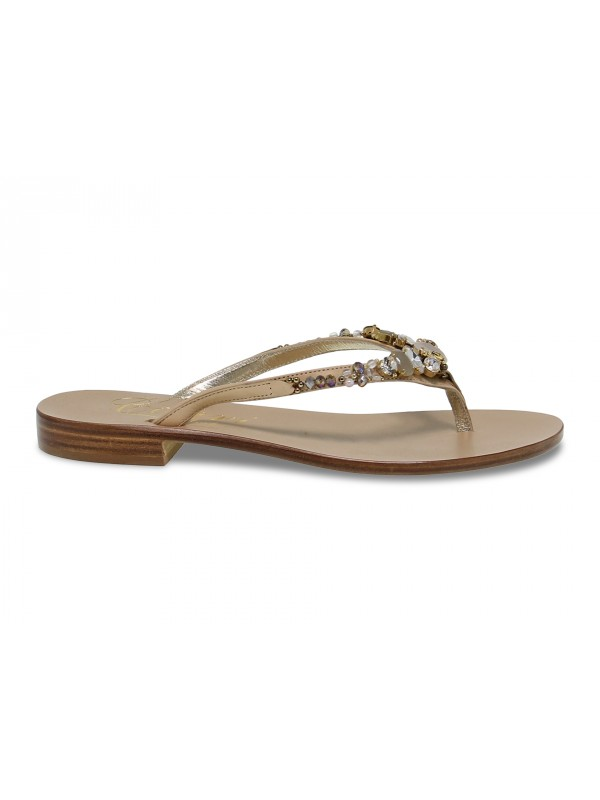Sandalo basso Capri POSITANO in pelle e crystal beige