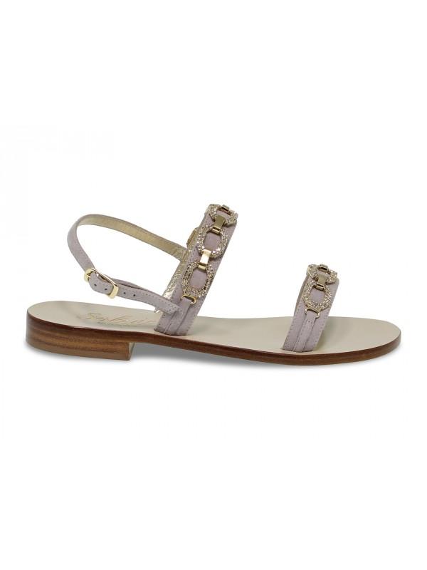 Sandalo basso Capri POSITANO in camoscio e crystal grigio e oro
