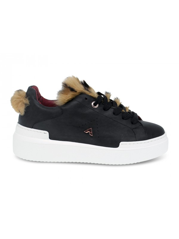 Sneakers Ed Parrish in pelle e cavallino nero e marrone