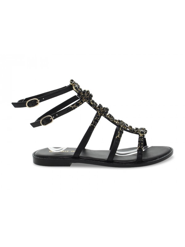 Sandalo basso Emanuèlle Vee SCHIAVA CON GIOIELLO in ecopelle e crystal nero e oro