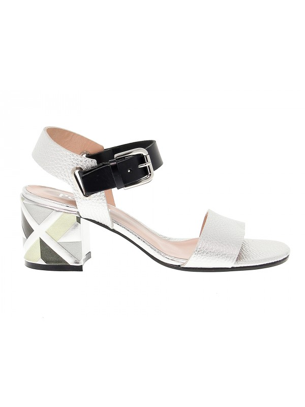 Sandalo con tacco Pollini in pelle