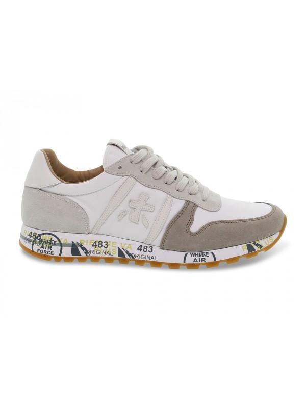 Sneakers Premiata ERIC in camoscio e nylon bianco e beige