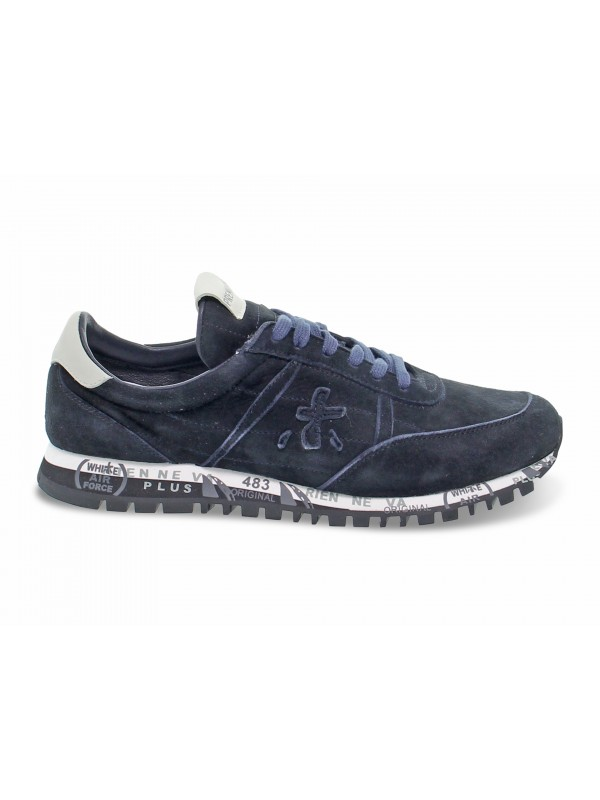 Sneakers Premiata SEAN in camoscio e pelle blu e grigio