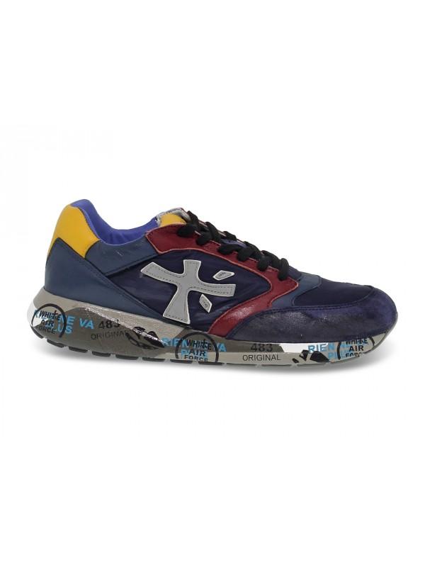 Sneakers Premiata ZAC ZAC in camoscio e nylon blu e rosso