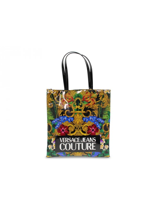 Shopping bag Versace Jeans Couture JEANS COUTURE VERNICE STAMPA in vernice multicolore e nero