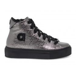 Sneakers Ruco Line AGILE in crack e laminato acciaio e nero