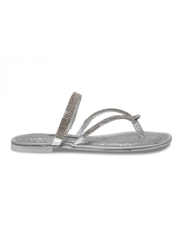 Sandalo basso Alberto Venturini FLAT in crystal e laminato argento