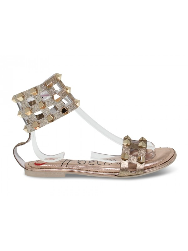 Sandalo basso Alberto Venturini FLAT GLADIATORE in laminato e glitter rame