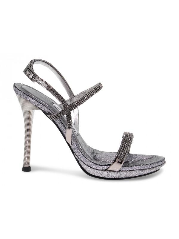 Sandalo con tacco Alberto Venturini GIOIELLO in crystal e laminato canna di fucile