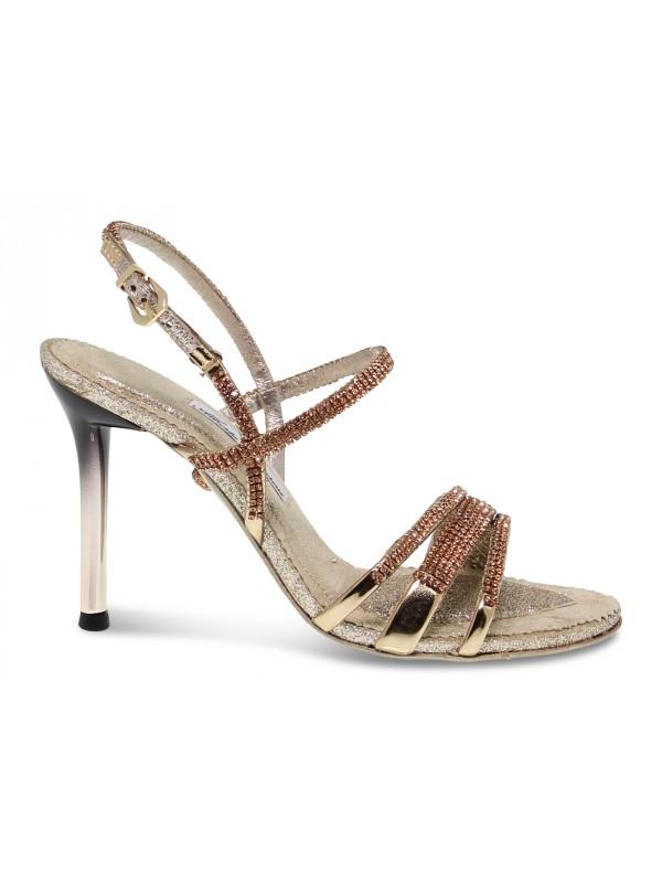 Sandalo con tacco Alberto Venturini GIOIELLO in crystal e laminato rame