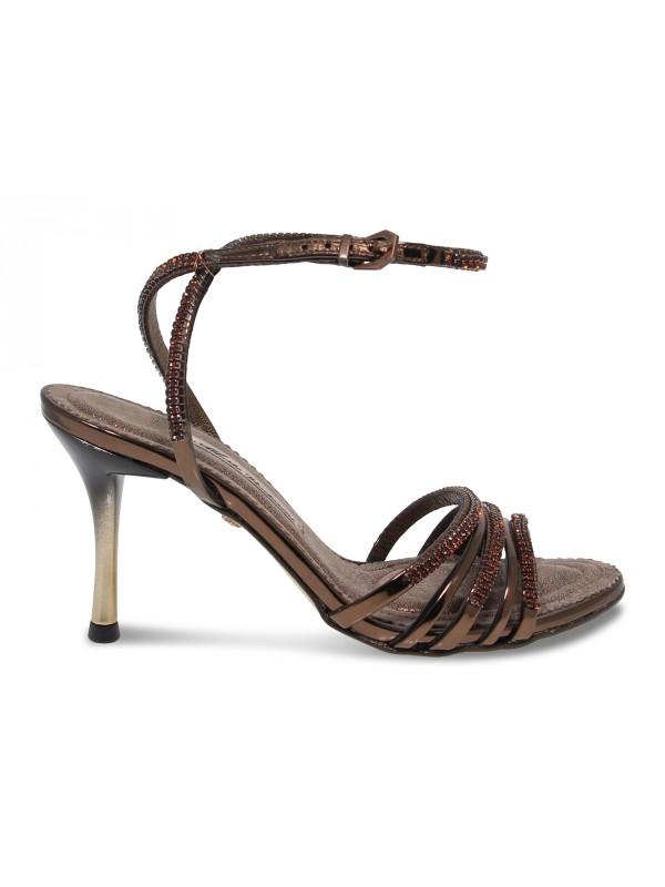 Sandalo con tacco Alberto Venturini GIOIELLO in crystal e laminato bronzo