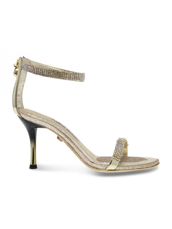 Sandalo con tacco Alberto Venturini GIOIELLO in crystal e laminato oro