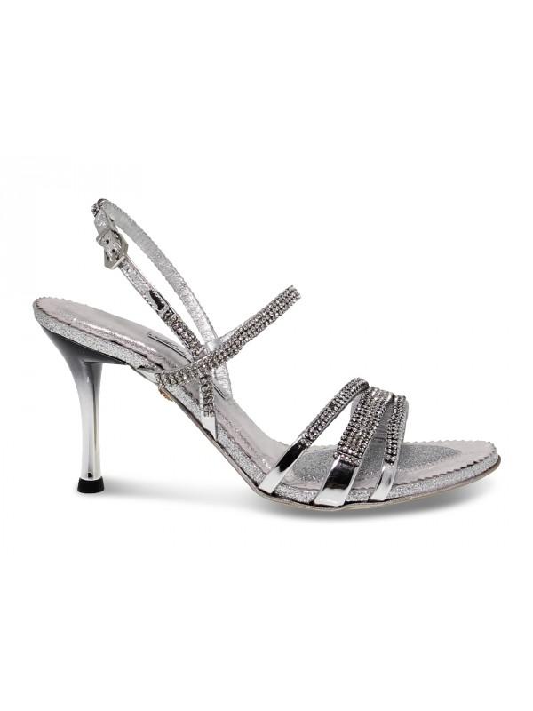 Sandalo con tacco Alberto Venturini GIOIELLO in crystal e laminato argento