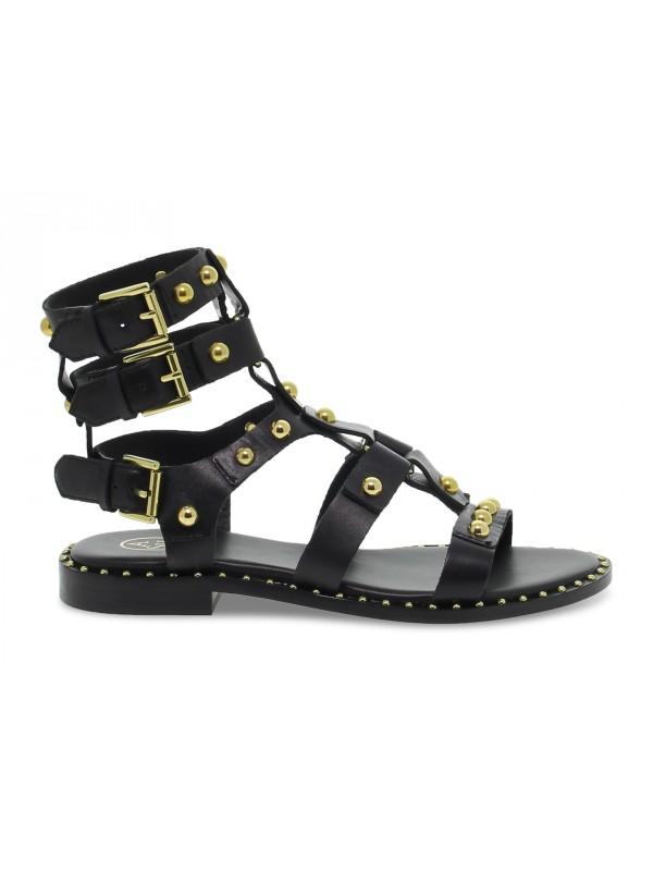 Sandalo basso Ash GLADIATORE in pelle nero e oro