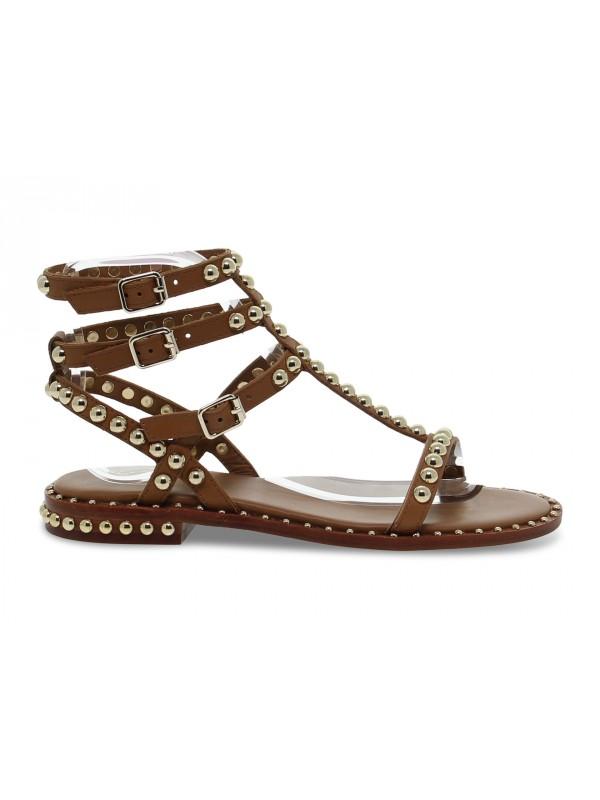Sandalo basso Ash SCHIAVA in pelle cuoio e oro