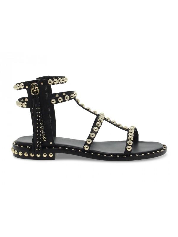 Sandalo basso Ash SCHIAVA in pelle nero e oro