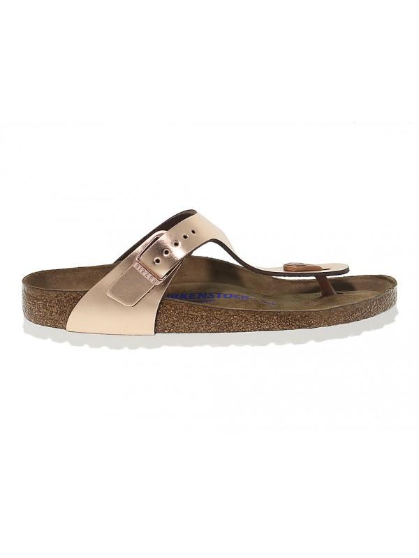 Sandalo basso Birkenstock GIZEH in pelle e laminato platino