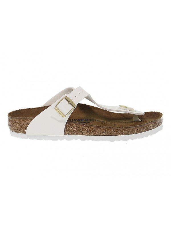 Sandalo basso Birkenstock GIZEH in birkoflor e vernice bianco