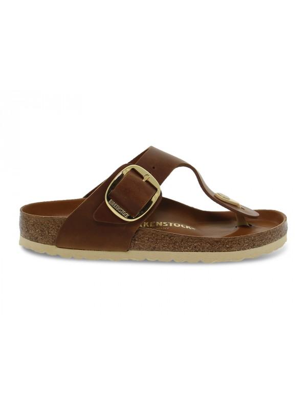 Sandalo basso Birkenstock GIZEH BIG BUCKLE in pelle cuoio