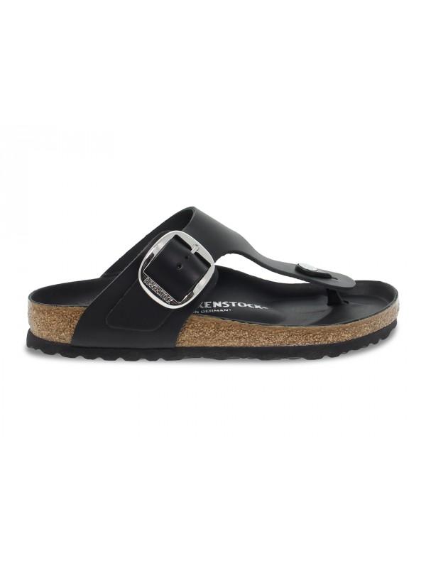 Sandalo basso Birkenstock GIZEH BIG BUCKLE in pelle nero