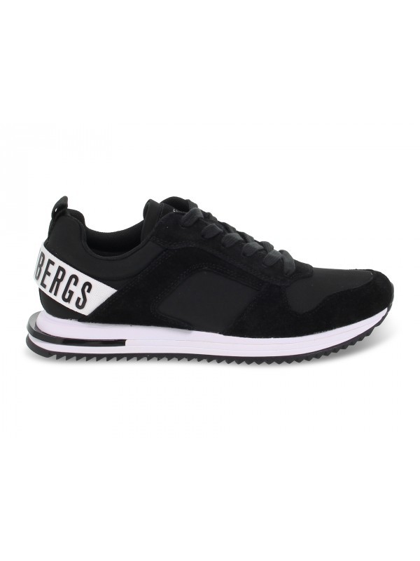 Sneakers Bikkembergs HECTOR LOW TOP LACE UP in camoscio e nylon nero e bianco