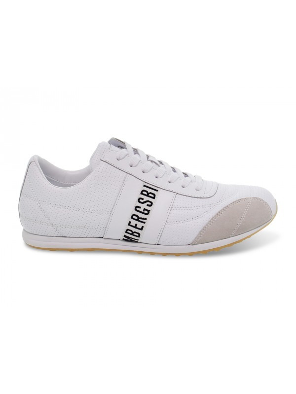 Sneakers Bikkembergs BARTHEL LOW TOP LACE UP SOCCER in nappa e camoscio bianco