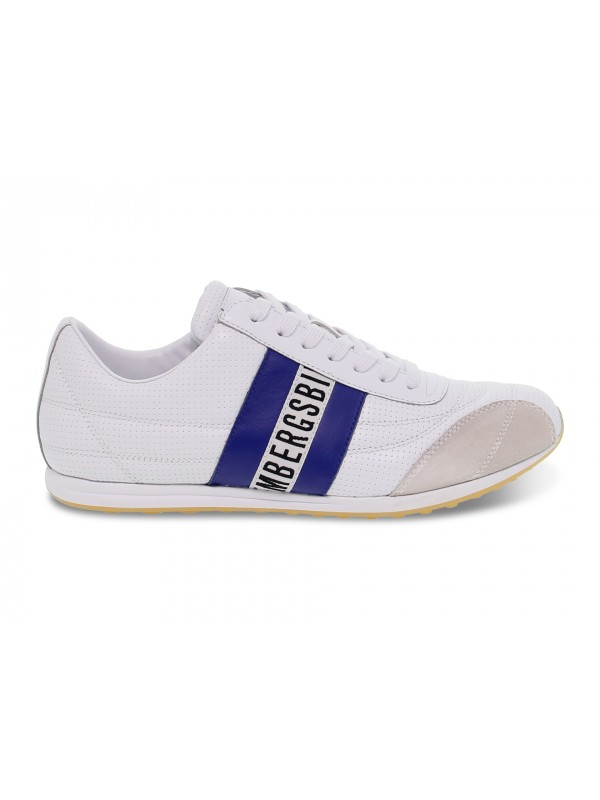 Sneakers Bikkembergs BARTHEL LOW TOP LACE UP SOCCER in nappa e camoscio bianco e bluette