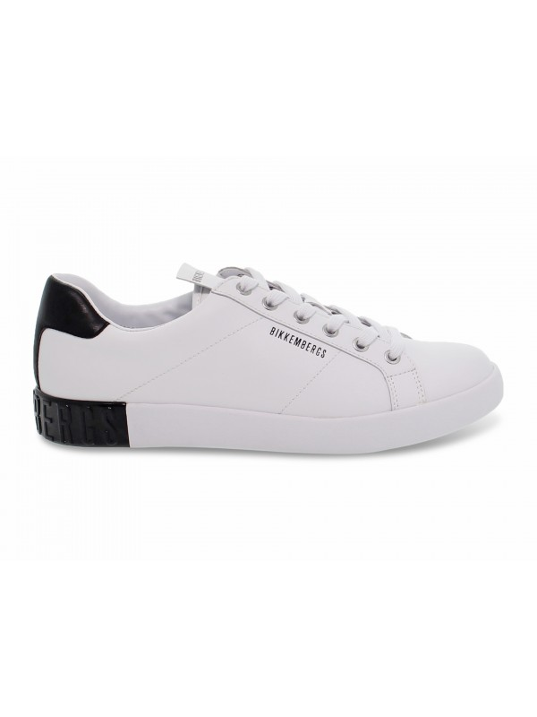 Sneakers Bikkembergs SHIERAN LOW TOP LACE UP in nappa bianco e nero