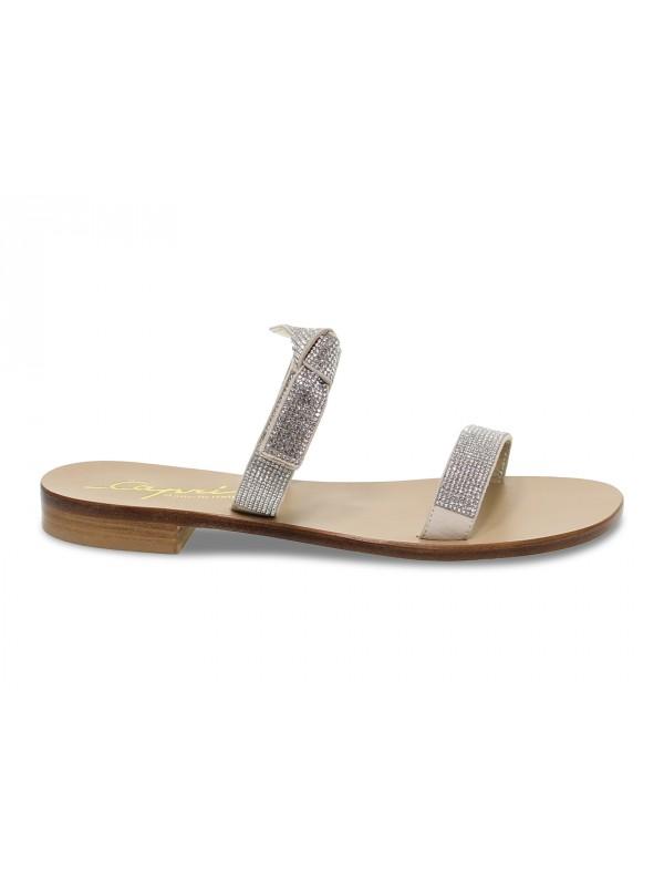Sandalo basso Capri POSITANO in camoscio e crystal beige e argento