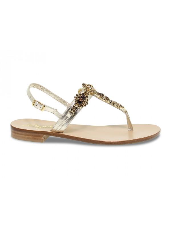 Sandalo basso Capri POSITANO in laminato e crystal platino e oro