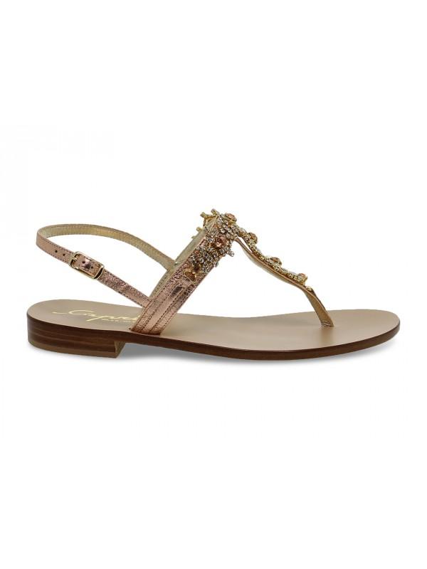 Sandalo basso Capri POSITANO in laminato e crystal rosa e oro