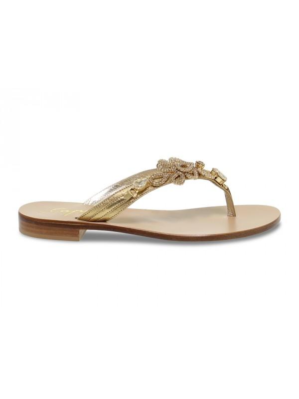 Sandalo basso Capri POSITANO in laminato e crystal oro e bronzo