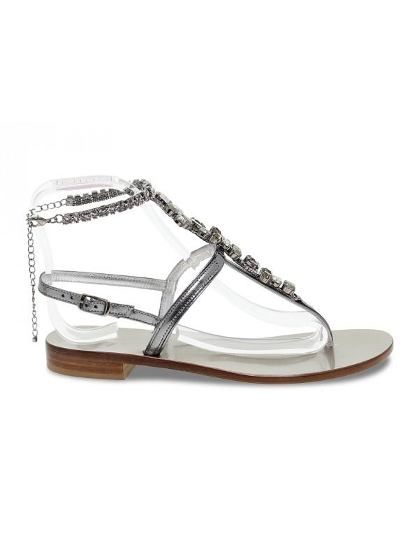 Sandalo basso Capri POSITANO in laminato e crystal piombo e grigio