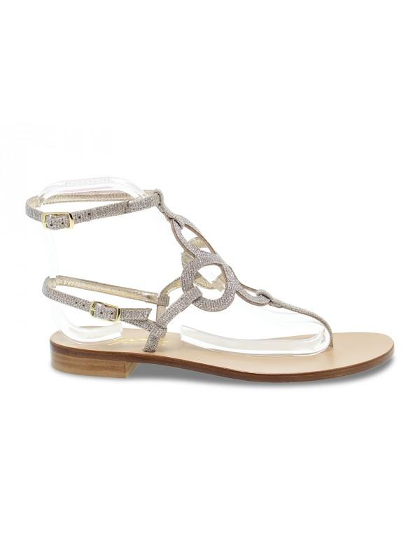 Sandalo basso Capri POSITANO in glitter e laminato oro