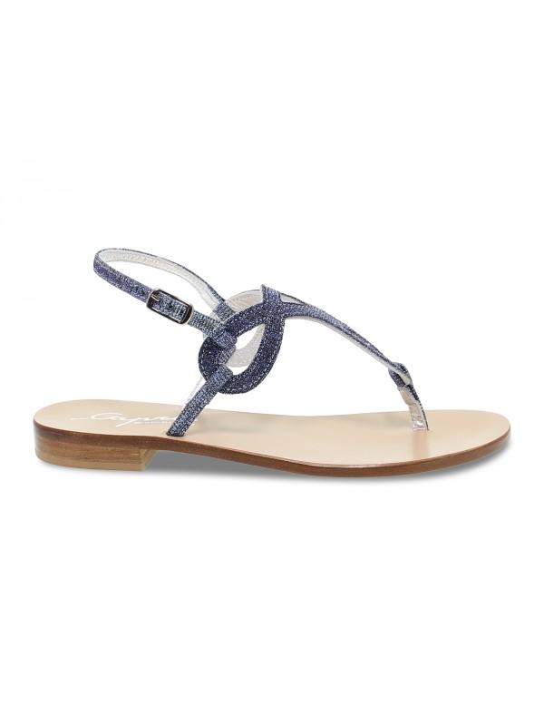 Sandalo basso Capri POSITANO in glitter e laminato blu