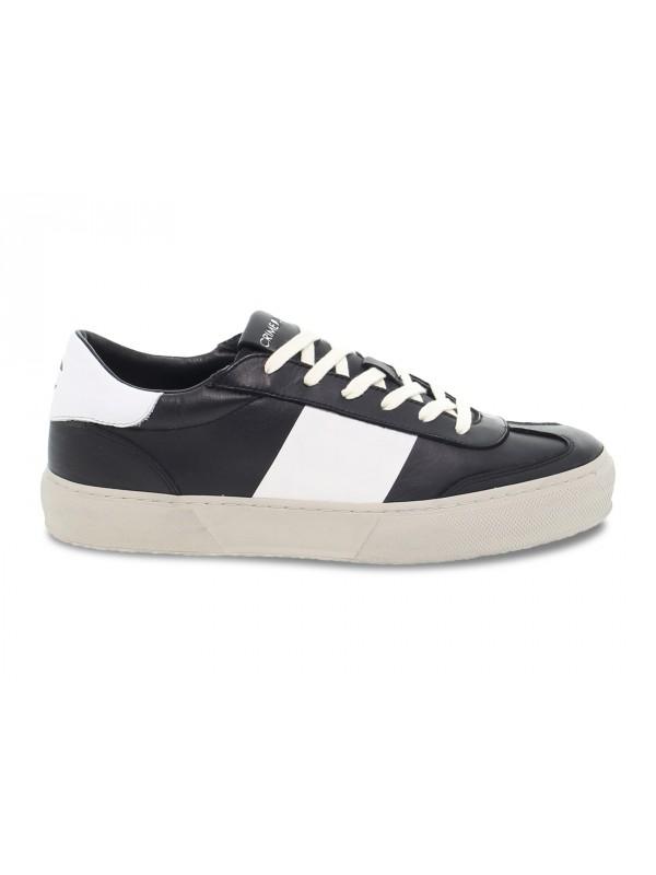 Sneakers Crime London ESSENTIAL in pelle nero e bianco