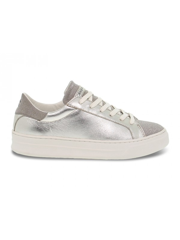 Sneakers Crime London SONIK LOW CUT in laminato e glitter platino