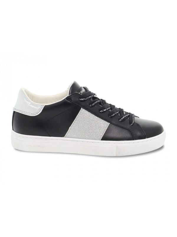Sneakers Crime London LOW TOP ESSENTIAL in pelle e glitter nero e argento