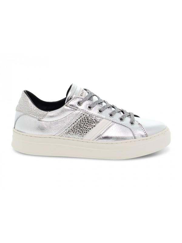 Sneakers Crime London LOW TOP CLASSIC in laminato e stampato argento