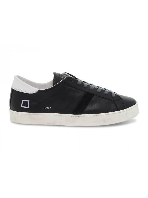 Sneakers D.A.T.E. HILL LOW CALF BLACK in pelle e camoscio nero e bianco