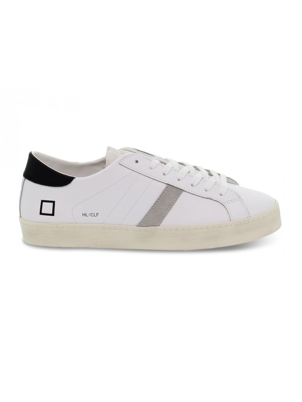 Sneakers D.A.T.E. HILL LOW CALF WHITE-BLACK in pelle e camoscio bianco e grigio