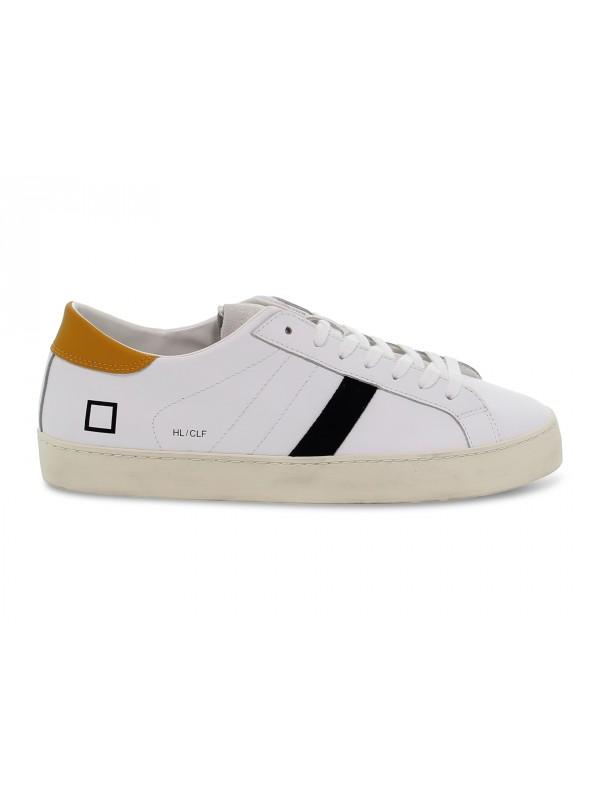 Sneakers D.A.T.E. HILL LOW CALF WHITE-ORANGE in pelle e camoscio bianco e arancio