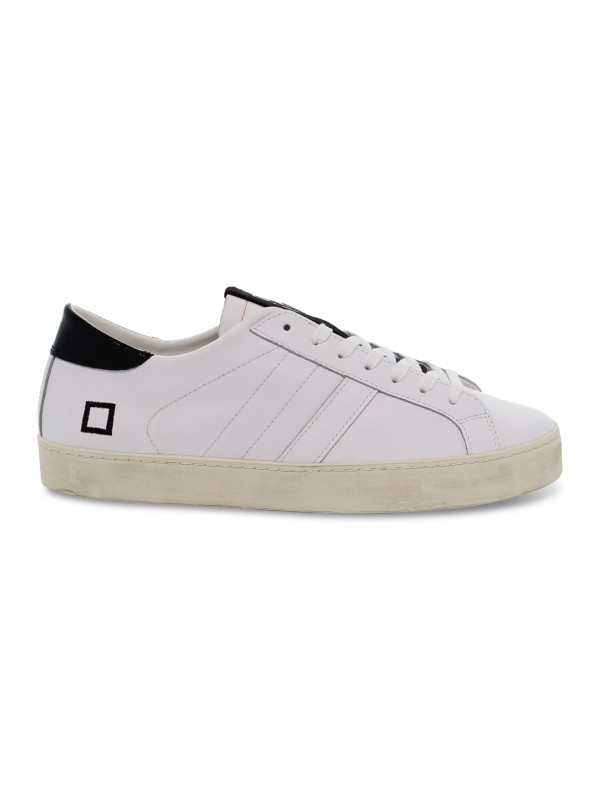 Sneakers D.A.T.E. HILL LOW SPOT WHITE in pelle e vernice bianco e nero