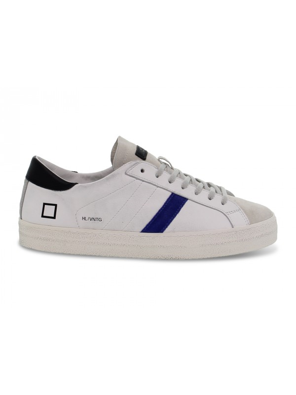 Sneakers D.A.T.E. HILL LOW VINTEGE CALF WHITE-BLUETTE in pelle e camoscio bianco e bluette