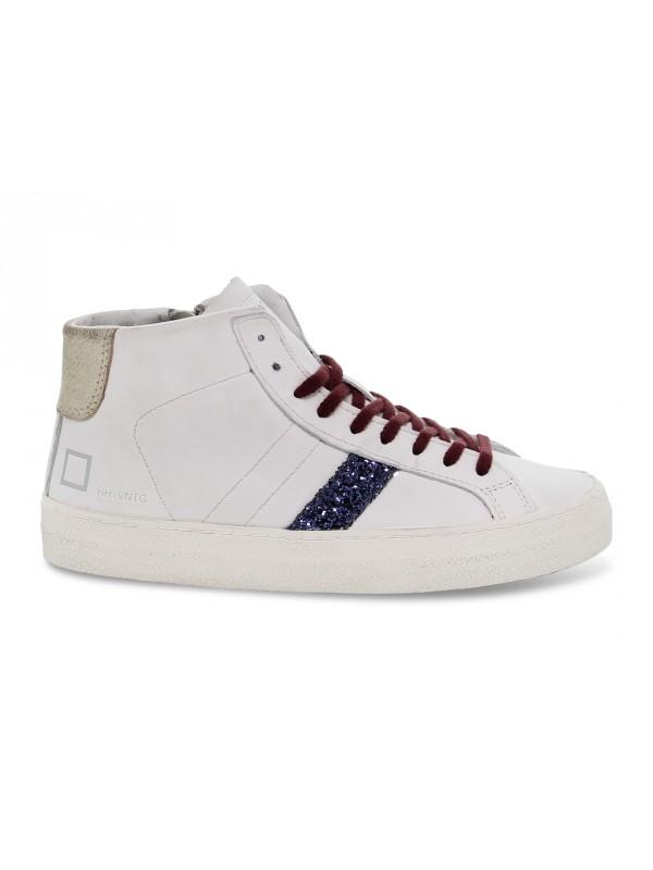 Sneakers D.A.T.E. HILL HIGH VINTAGE CALF WHITE-BLU in pelle e glitter bianco e blu