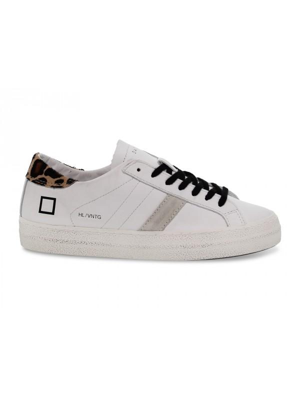 Sneakers D.A.T.E. HILL LOW VINTAGE CALF WHITE-LEOPARD in pelle e camoscio bianco e leopardato