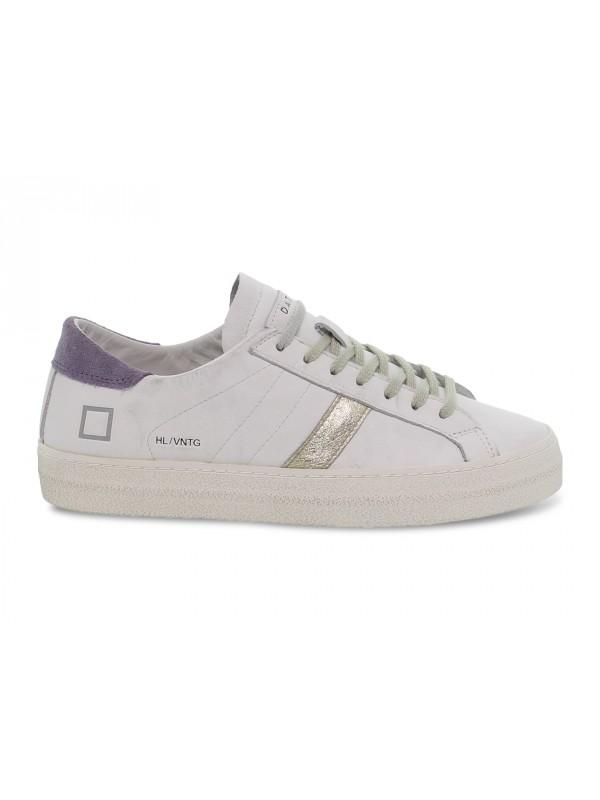 Sneakers D.A.T.E. HILL LOW VINTAGE CALF WHITE-LAVANDE in pelle e laminato bianco e platino