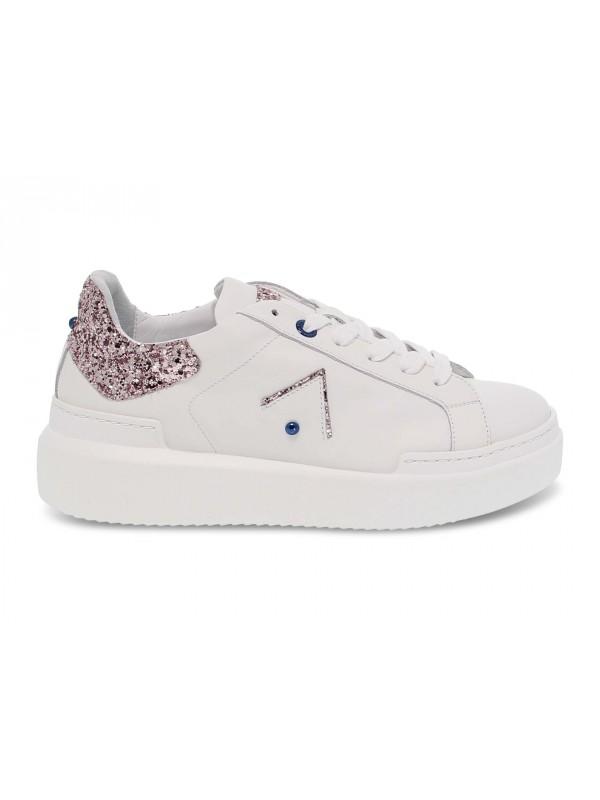 Sneakers Ed Parrish in pelle e glitter bianco e cipria